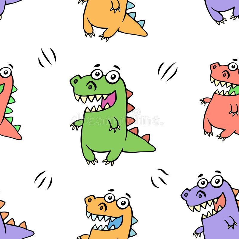 Cute happy dragon pattern. Vector illustration stock illustration