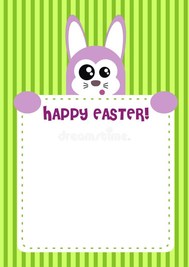 Cute Happy Easter Bunny Invitation / Card stock illustration