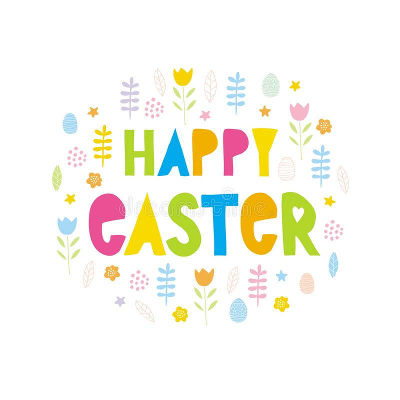 Cute Happy Easter Vector Card with Floral Frame. Funny Happy Easter Colorful Vector Illustration. stock illustration