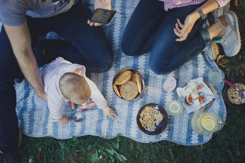Cute happy family on picnic stock images