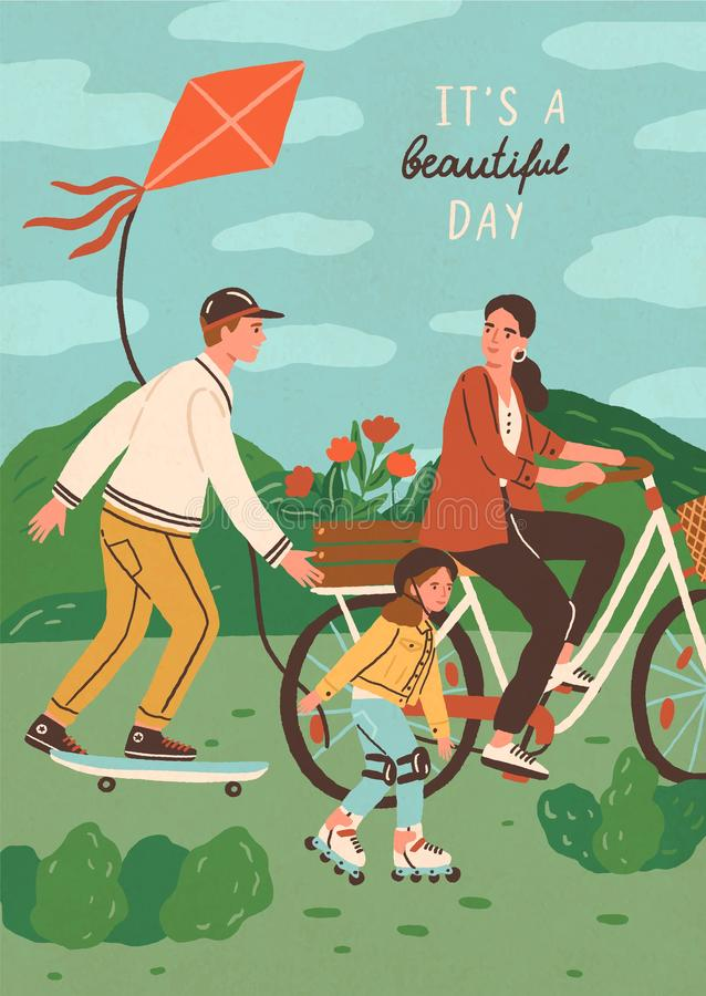 Cute happy family riding bike, skateboard and roller skating outdoors. Smiling mother, father and son performing sports. Or leisure activity in park. Summer royalty free illustration