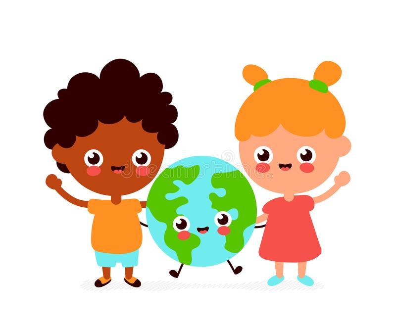 Cute happy funny smiling boy,girl and Earth planet. Vector flat cartoon character icon design. Isolated on white background. Earth stock illustration