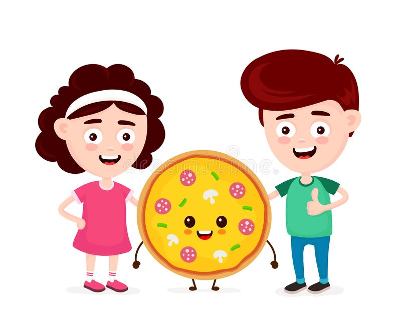 Cute happy funny smiling boy,girl and pizza vector illustration