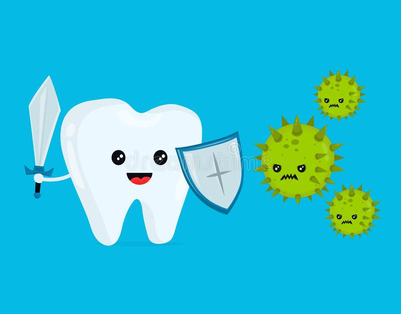 Cute happy funny smiling fighting tooth. With caries. Disease battle. Tooth attacked by germs of cavities caries. Vector flat cartoon character illustration royalty free illustration