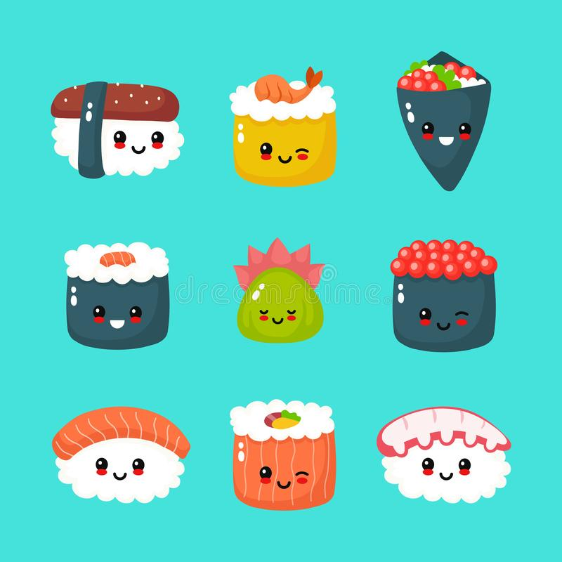 Cute happy funny smiling sushi,roll and sashimi vector illustration