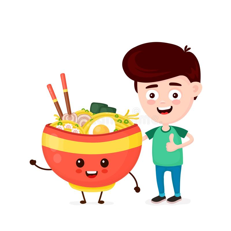 Cute happy funny smiling young man and ramen bowl royalty free illustration