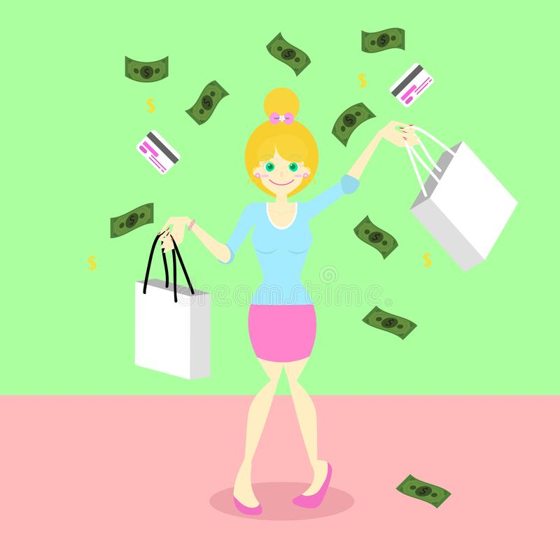 Cute happy girl holding shopping bag concept under falling money and credit card vector illustration