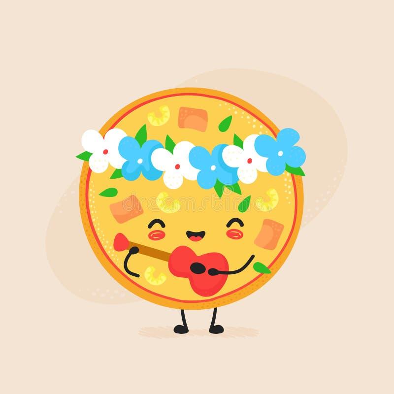 Cute happy hawaiian pizza character stock illustration
