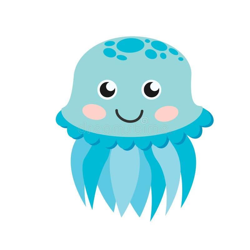 Cute happy jellyfish cartoon character sea animal illustration. stock illustration