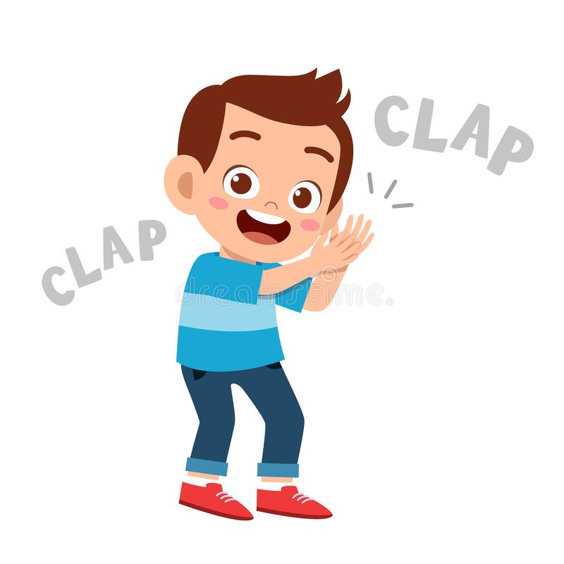 Cute happy kid clap hand cheer smile. Acclaim, action, admiration, applauding, applause, hands, approval, background, bravo, cartoon, character, cheering royalty free illustration