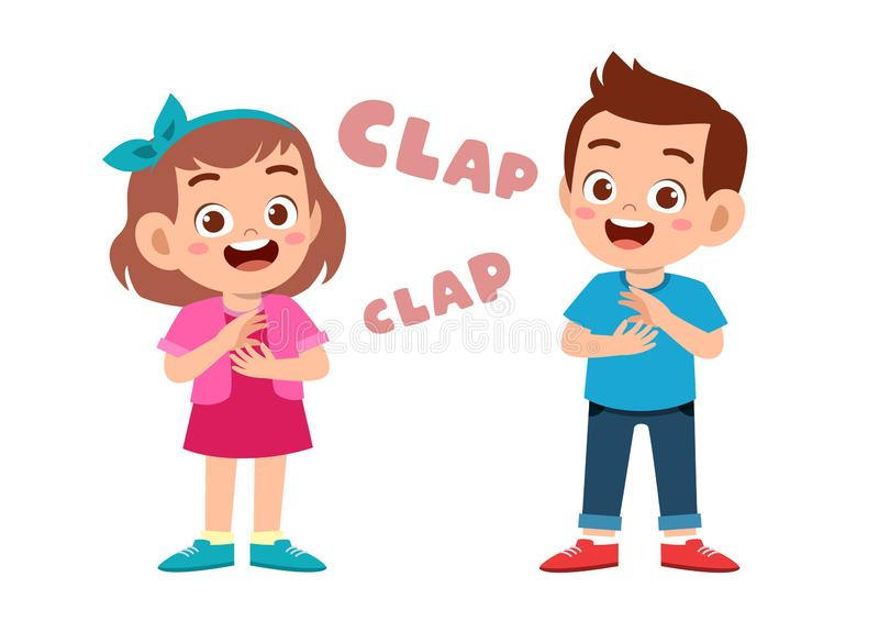 Cute happy kid clap hand cheer smile. Acclaim, action, admiration, applauding, applause, hands, approval, background, bravo, cartoon, character, cheering stock illustration