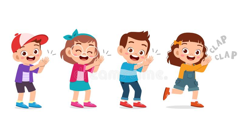 Cute happy kid clap hand cheer smile. Acclaim, action, admiration, applauding, applause, hands, approval, background, bravo, cartoon, character, cheering vector illustration