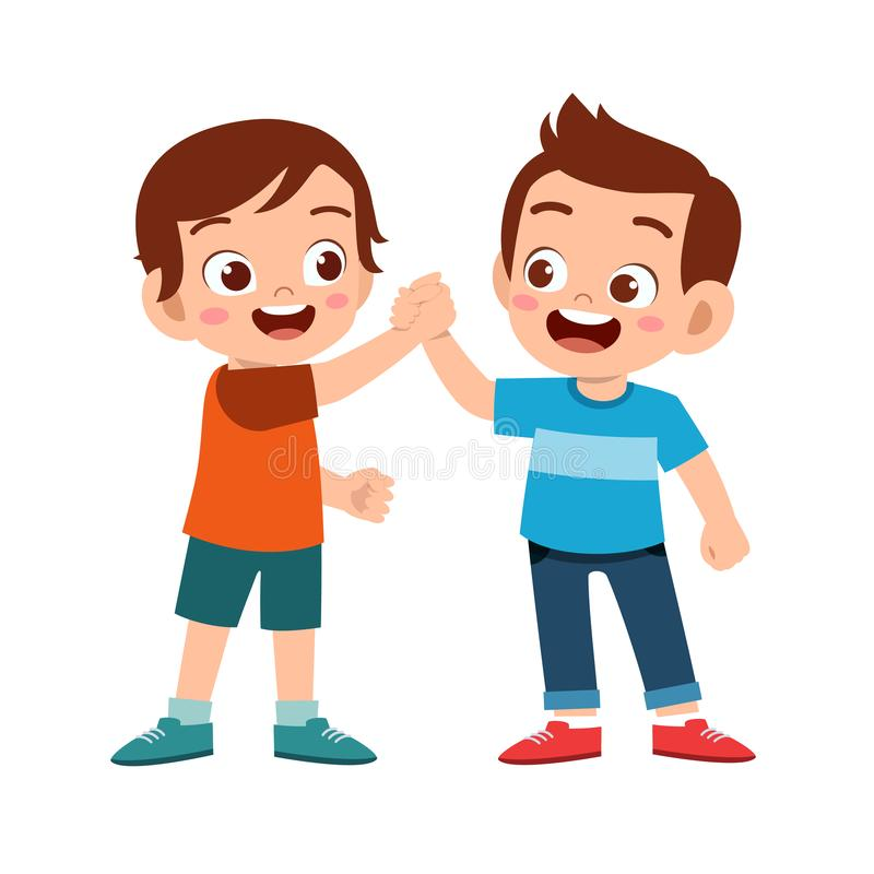 cute happy kid hand shake with friend vector illustration