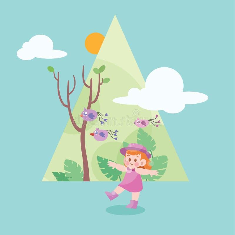 Cute happy kid on the spring season vector illustration. Cute kids happy vector illustration, graphic, imagination, fantasy, child, children, elementary, school vector illustration