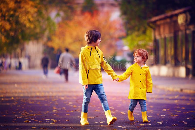 Cute kids, brothers holding hands, walking together on autumn street in yellow rain coats and boots royalty free stock photography