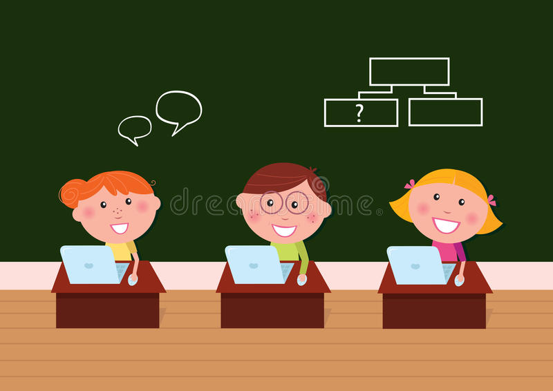 Cute happy kids in classroom with Laptop stock illustration