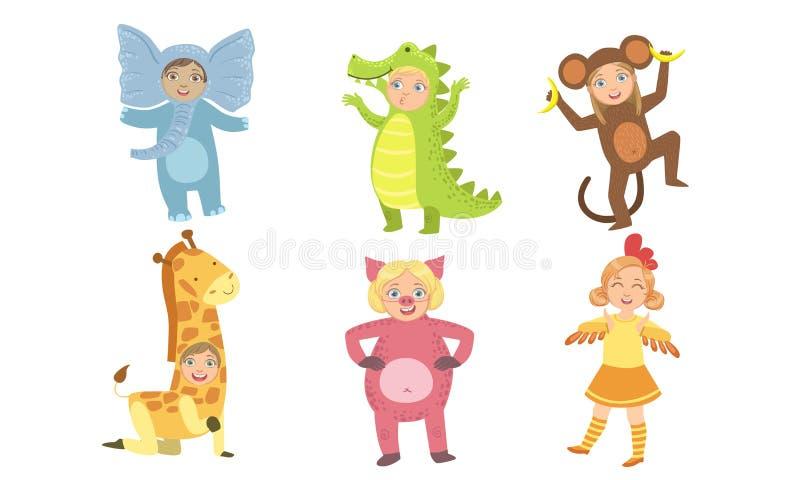 Cute Happy Kids Dpress Animal Costumes Set, Elephant, Crocodile, Monkey, Giraffe, Pig, Chicken Vector Illustratie stock illustratie