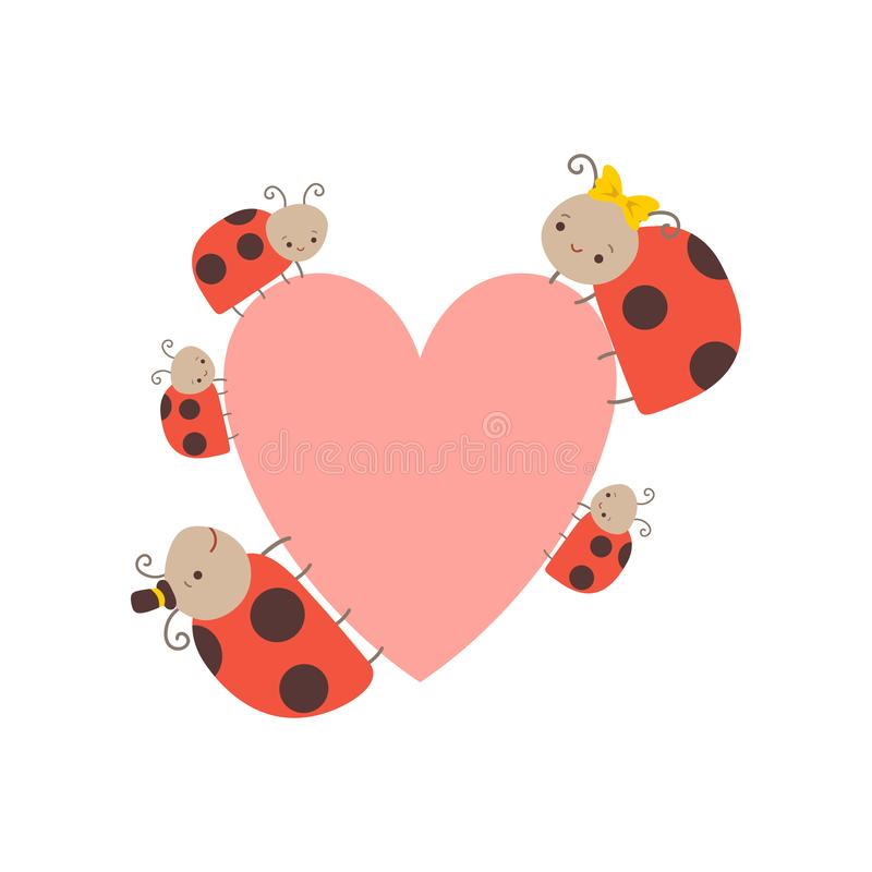 Cute Happy Ladybug Family, Cheerful Mother, Father and Their Babies with Big Heart, Adorable Cartoon Insects Characters. Vector Illustration on White Background royalty free illustration