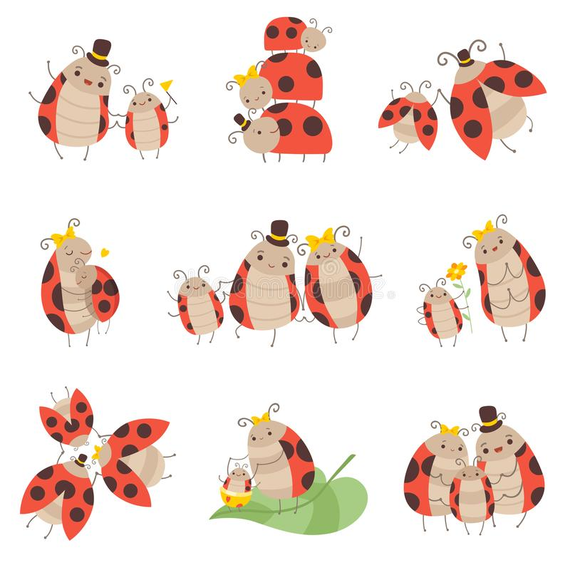 Cute Happy Ladybug Family Set, Cheerful Mother, Father and Their Babies, Adorable Cartoon Insects Characters Vector. Illustration on White Background vector illustration