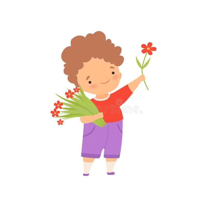 Cute Happy Little Boy with Bouquet of Flowers Cartoon Vector Illustration. On White Background stock illustration