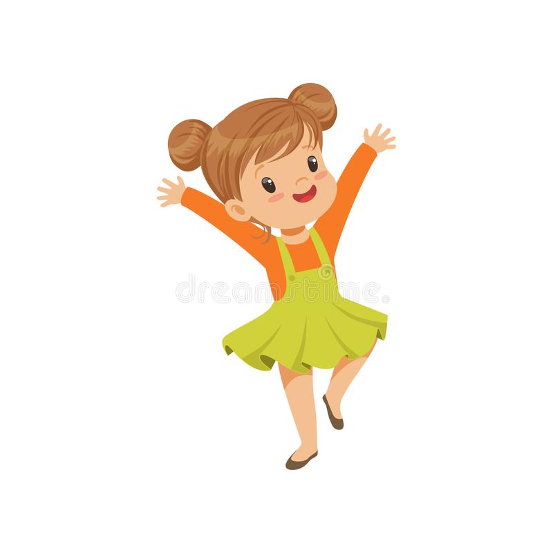 Cute happy little girl dancing in casual clothes vector Illustration on a white background stock illustration