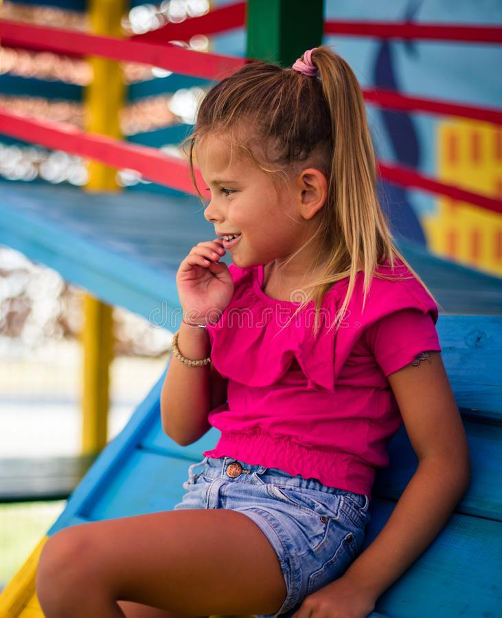 Cute happy little girl. stock images