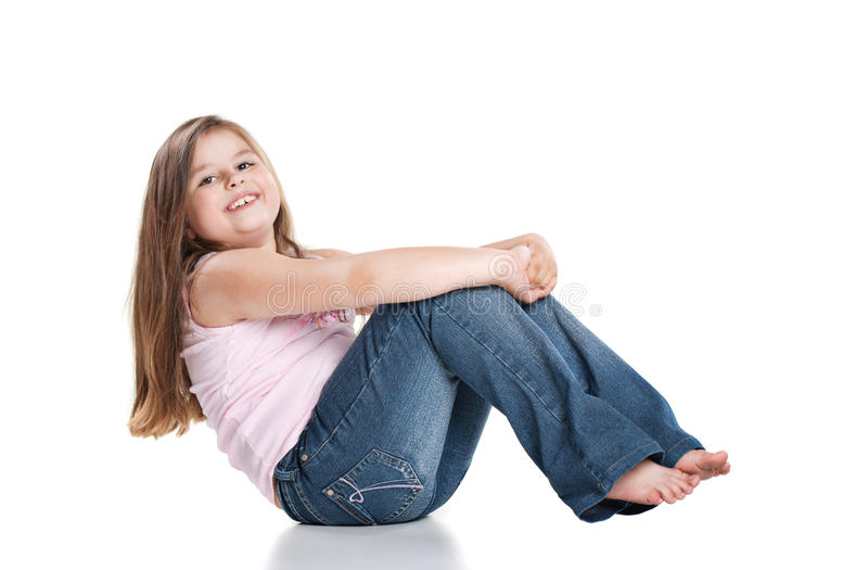 Download Cute Happy Little Girl Sitting On White Background Stock Image - Image: 20301959