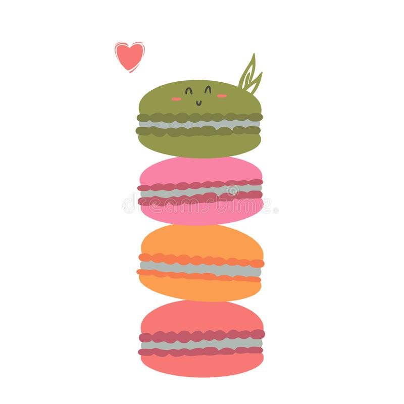 Cute happy macarons cookies stack stock illustration