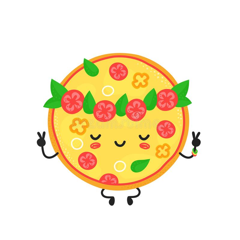 Cute happy meditate vegetarian pizza stock illustration