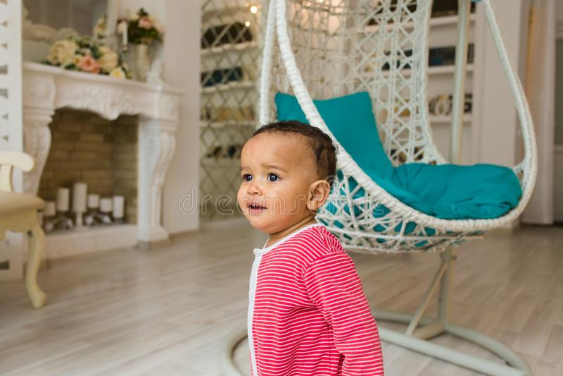 Cute happy mixed race baby boy portrait stock photo