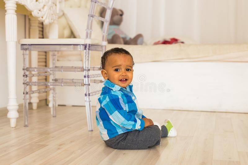 Cute happy mixed race baby boy portrait stock images