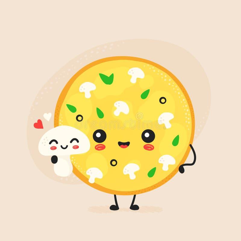 Cute happy mushroom pizza character vector illustration