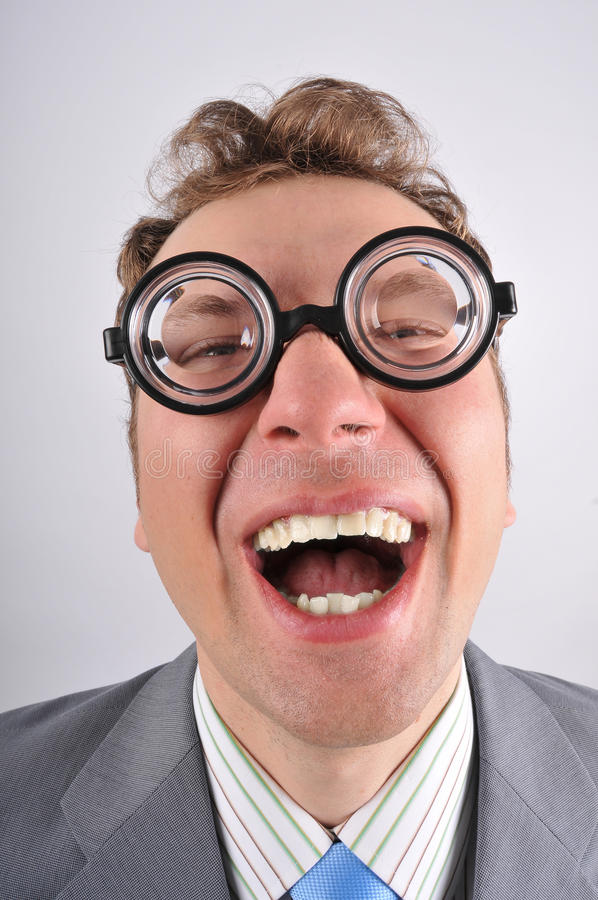 Download Cute and happy nerd stock image. Image of fashionable - 18464459