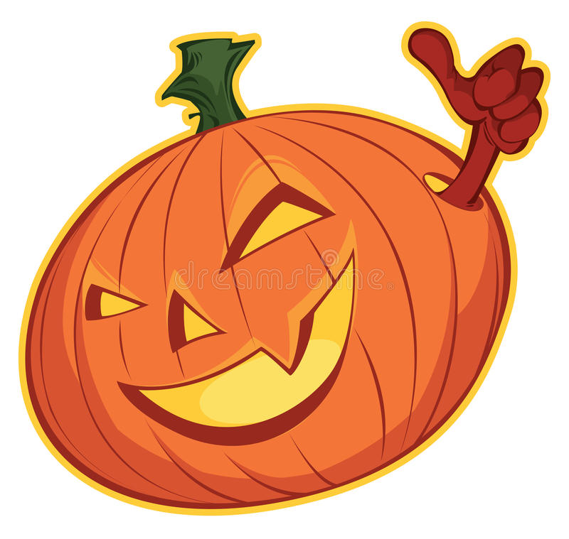 Cute Happy orange Pumpkin with arm stock photography