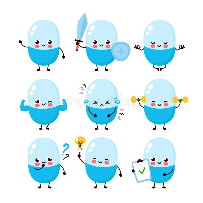 Cute happy pill character set collection. Vector flat cartoon illustration icon design. Isolated on white background. Pill character concept vector illustration