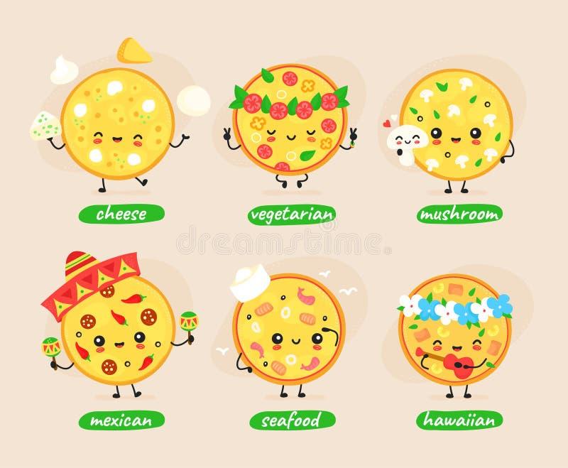 Cute happy pizza character set vector illustration