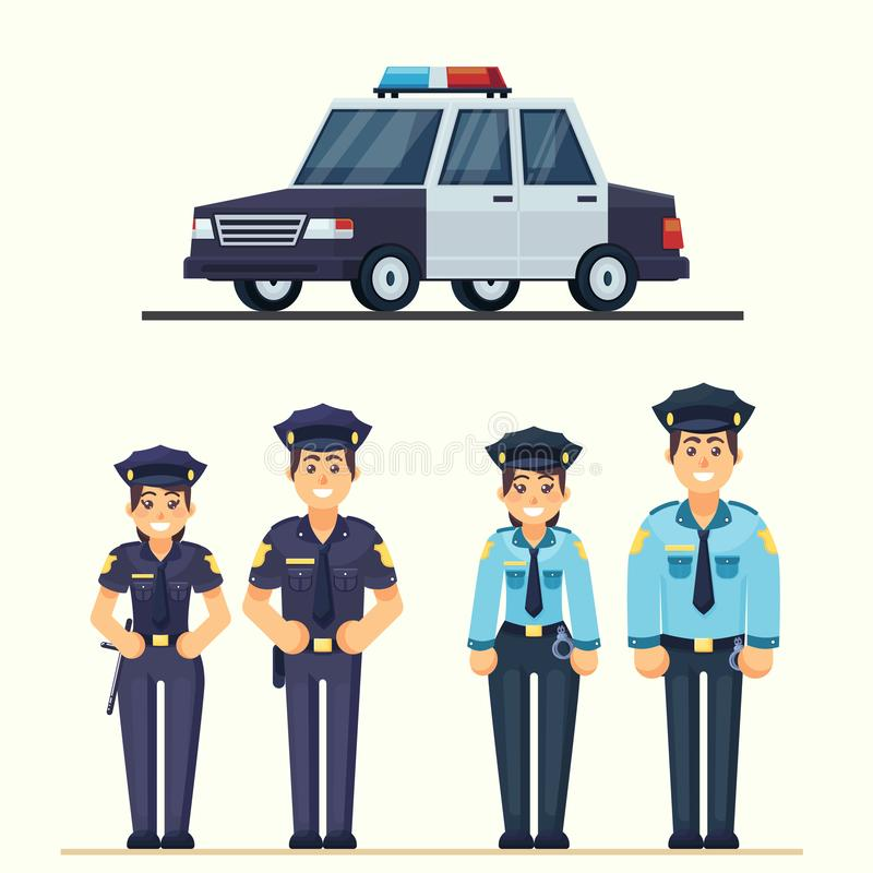 Cute happy police man and woman agents working in uniform Vector officer with car in flat style stock illustration