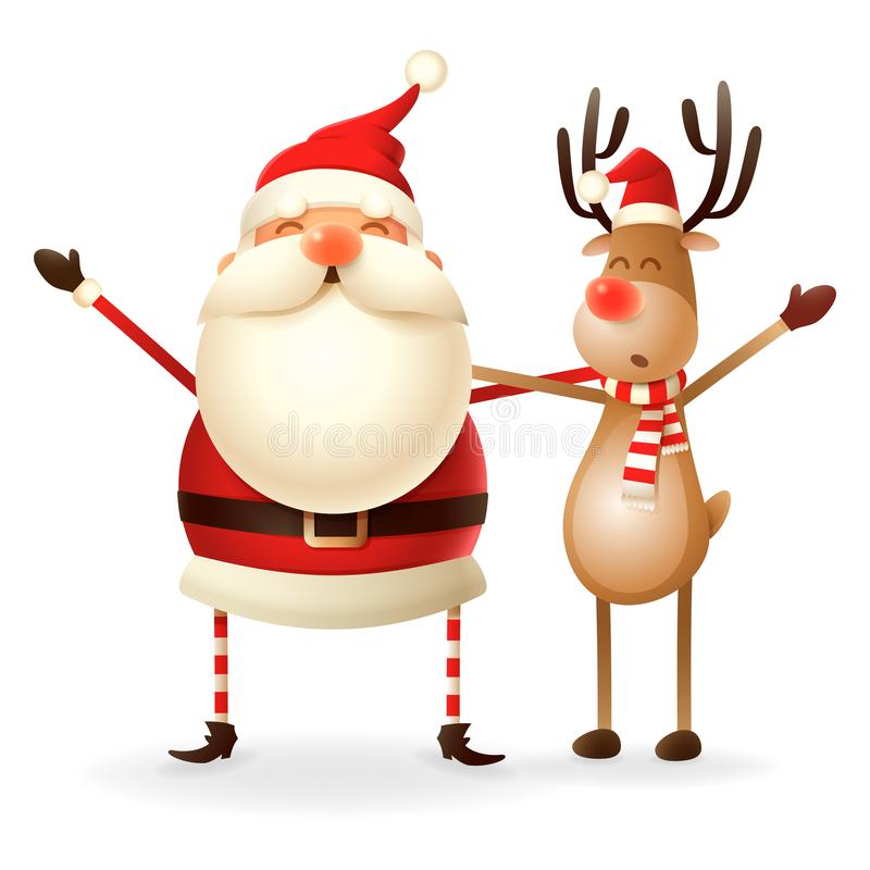 Cute happy Santa Claus and Reindeer celebrate Christmas - isolated on transparent background stock illustration
