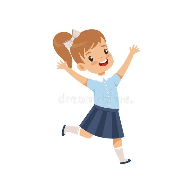 Cute happy schoolgirl in uniform running with rising hands vector Illustration on a white background. Cute happy schoolgirl in uniform running with rising hands royalty free illustration