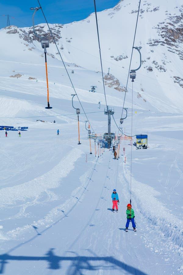Skier boy in a winter ski resort. stock images