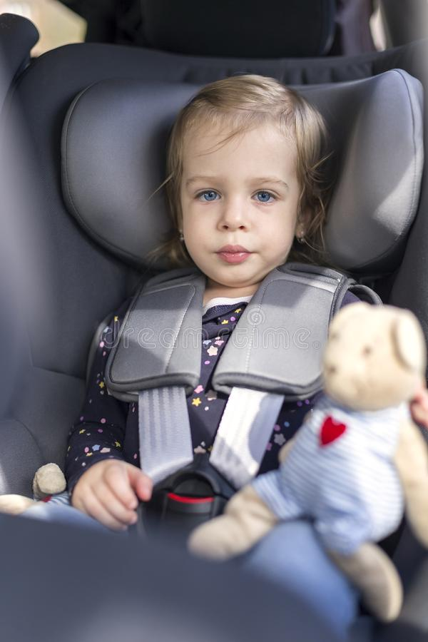 Cute Happy Small Girl In Car Seat In The Car Stock Image - Image of ...
