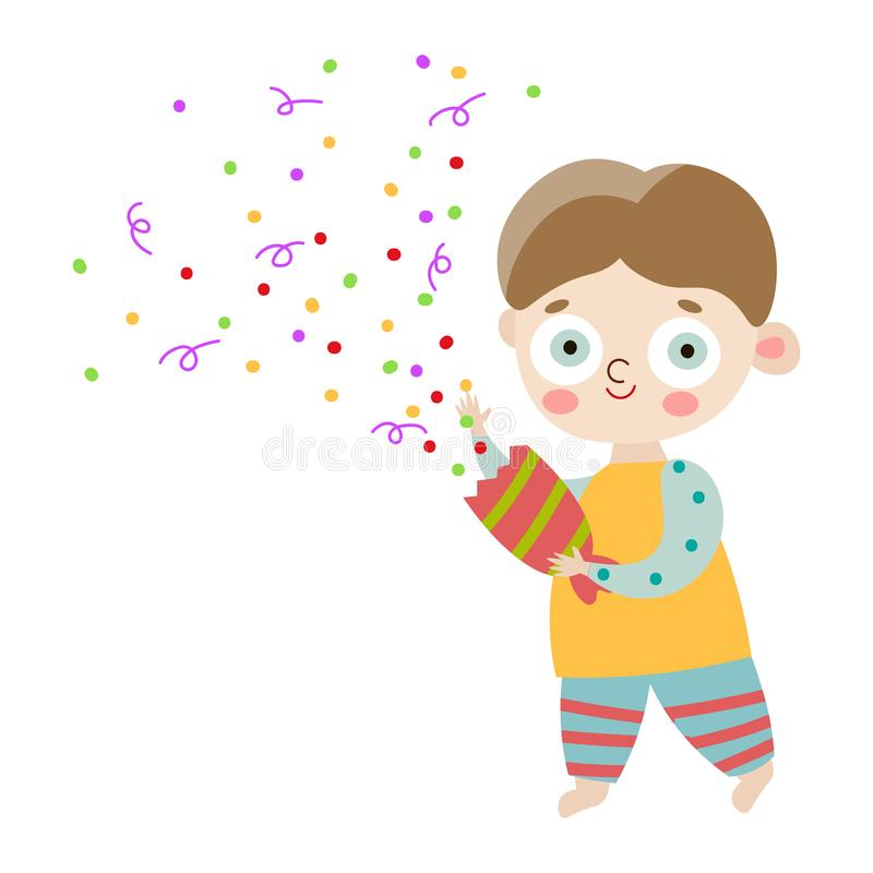 The cute happy smiling boy in striped pants with party cracker. Vector illustration in flat cartoon style. vector illustration