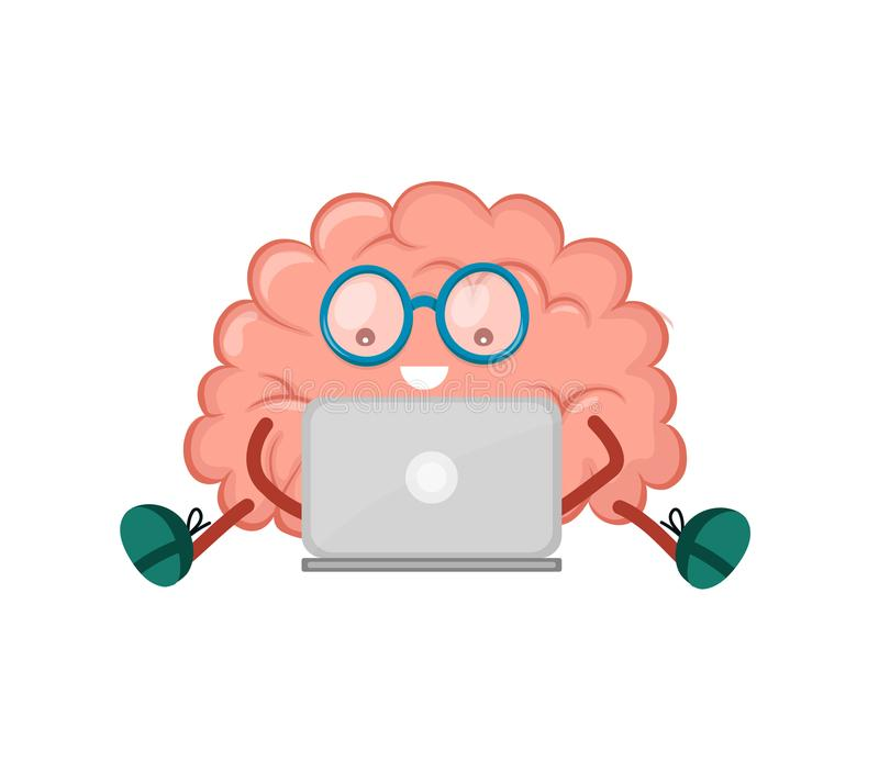 Cute happy smiling brain sitting. With laptop computer. Vector modern style flat cartoon character illustration design icon. Isolated on white background. Mind vector illustration