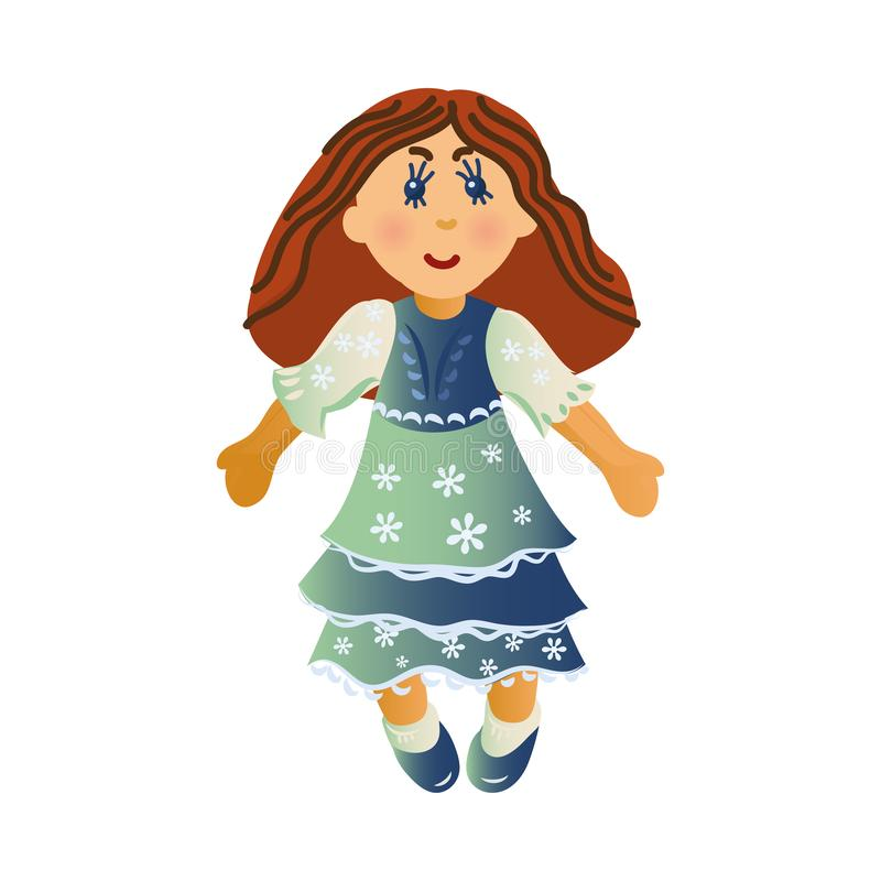 Cute happy smiling brown-haired girl doll in the colorful dress. Vector illustration in flat cartoon style. royalty free illustration