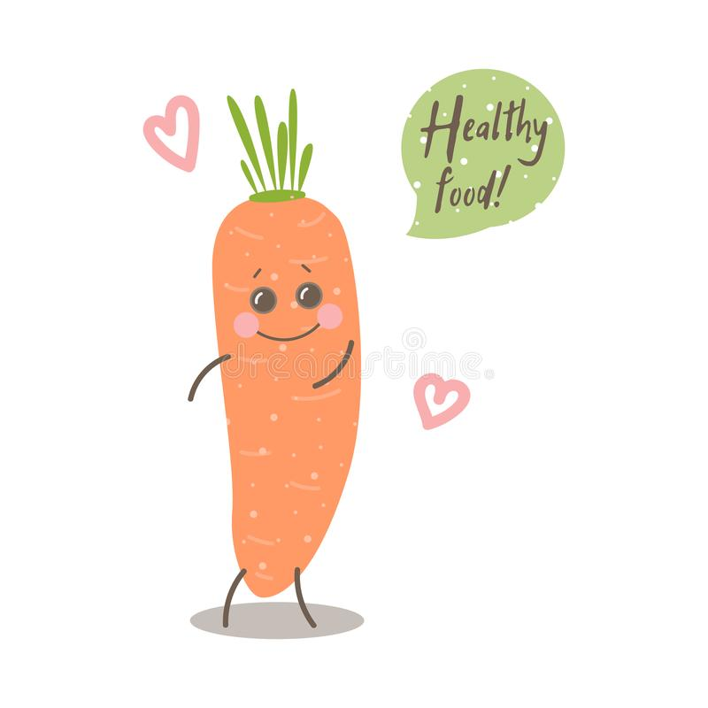 Cute happy smiling carrot with words Healthy food. Cute happy smiling carrot with words `Healthy food`. Vector modern flat style cartoon character illustration stock illustration
