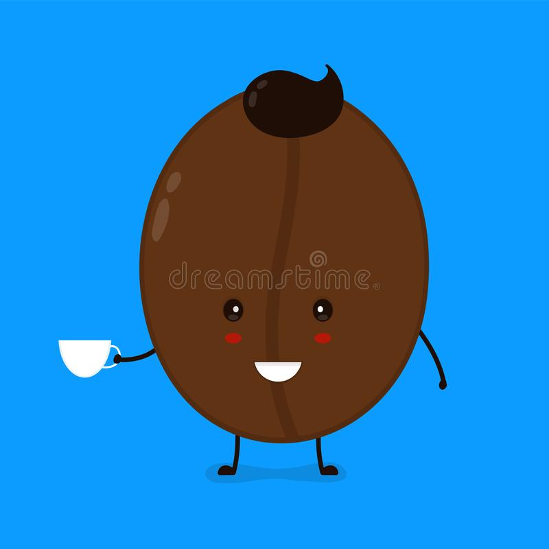 Download Cute Happy Smiling Coffee Bean With Stock Vector