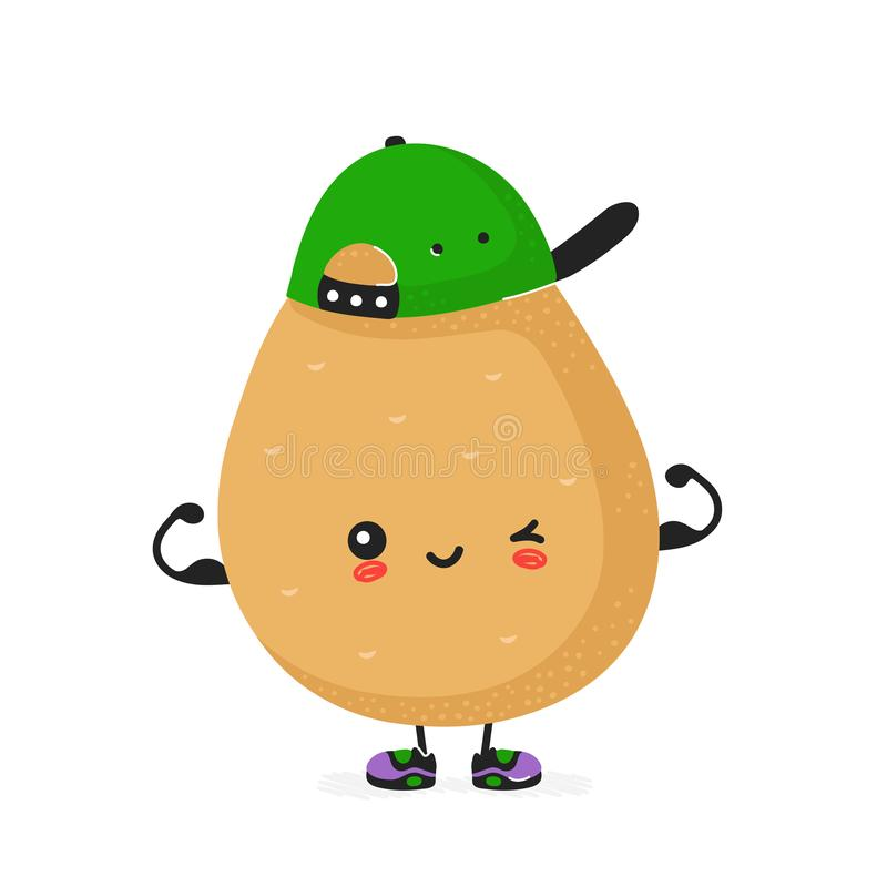 Cute happy smiling potato show muscle vector illustration