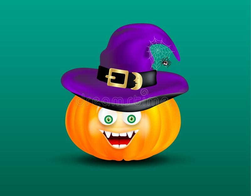 Cute happy smiling pumpkin head witch purple hat and scary funny decor of spider on cobweb on dark green background. Halloween ico stock illustration
