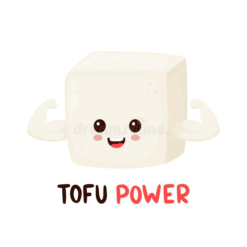Cute happy smiling strong tofu vector illustration