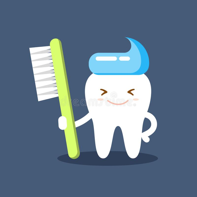 Cute happy smiling tooth with toothbrush and toothpaste hairstyle. Clear tooth concept. Brushing teeth. Dental kids care royalty free illustration